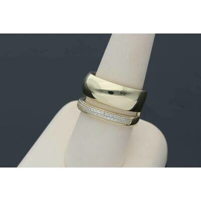 14 Karat Gold & Cz Double Band Ring S: 9.5 W: 5.5gr~