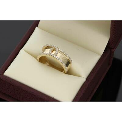 14 Karat Gold & Cz Double Line Fancy C Ring S: 7 W: 3.0gr~