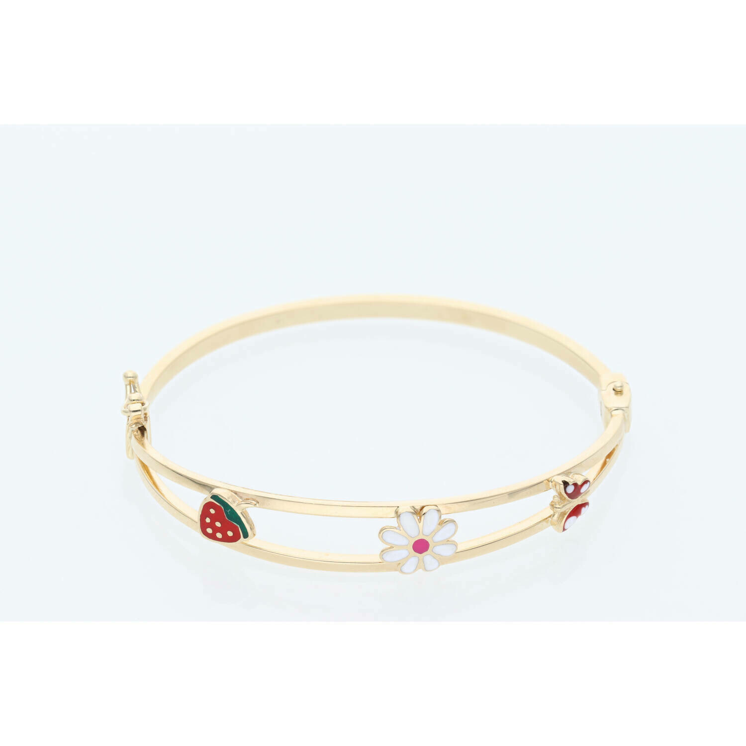 14 Karat Gold Strawberry Flower Butterfly Bangle 2.4-8mm x 6