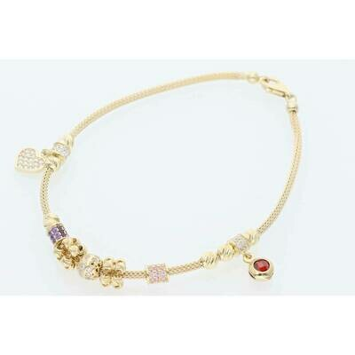 14 Karat Gold & Cz Heart Red Stone Snake Bracelet 1.5mm x 7.5