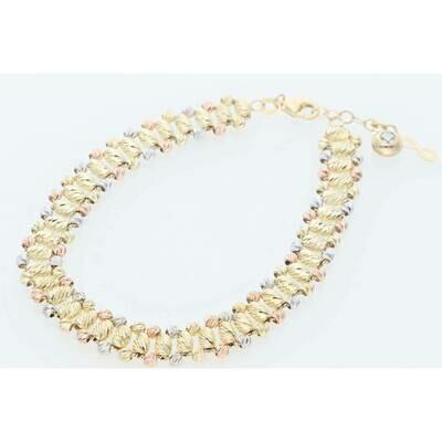 14 Karat Gold Three Tone Three Line Moon Bracelet 7.5mm x 8