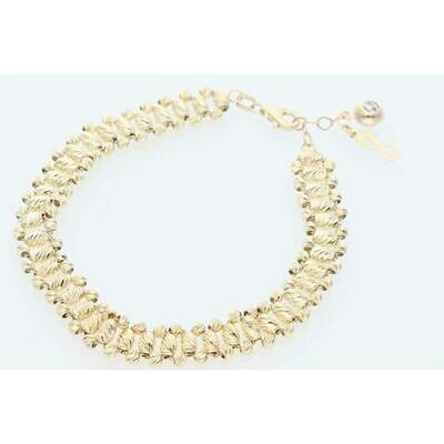 14 Karat Gold Three Line Moon Bracelet 7.5mm x 8