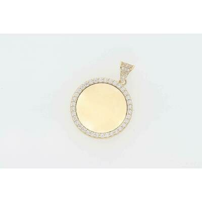 14 Karat Gold & Cz Cirlcle Small Medal Photo Charm W: 3.9 ~