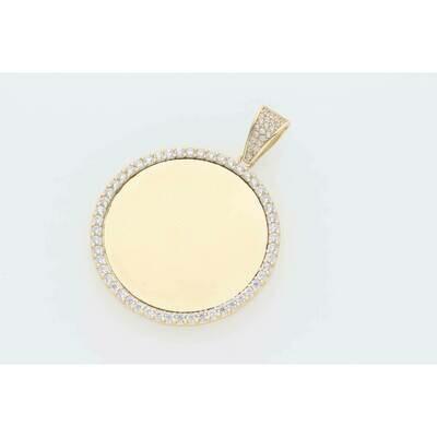 14 Karat Gold & Cz Cirlcle Medium Medal Photo Charm W: 6.3 ~