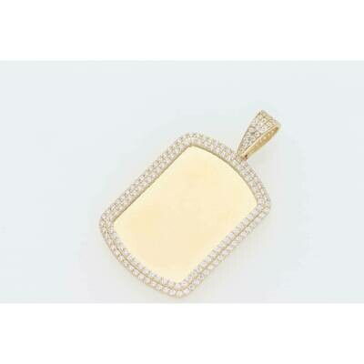 14 Karat Gold & Cz Retangle Medium Photo Charm W: 6.0 ~