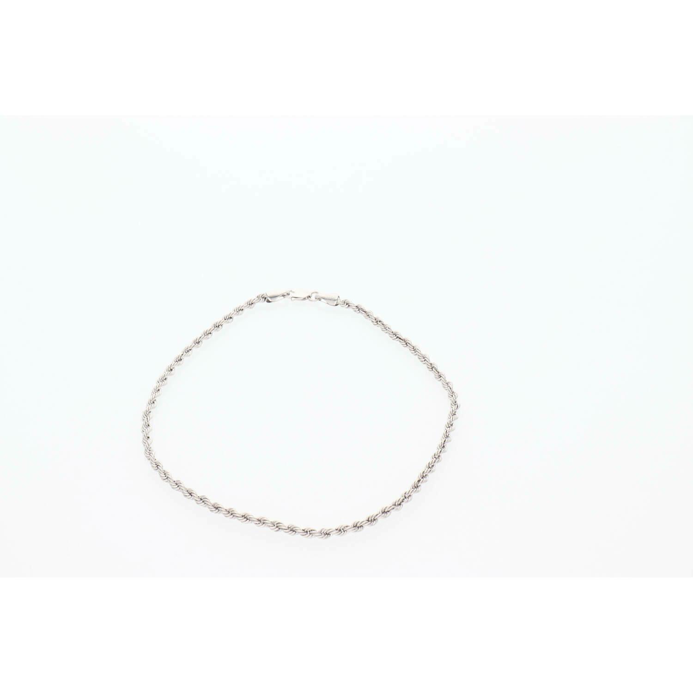 10 Karat White Gold Rope Anklet Bracelet 2.5mm x 10 W:2.2
