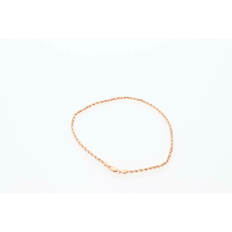 10 Karat Rose Gold Rope Anklet Bracelet 1.9mm x 10 W:1.7