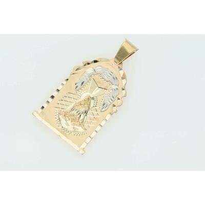 10 Karat Gold Caridad del Cobre Medal Diamond Cut W: 5.6