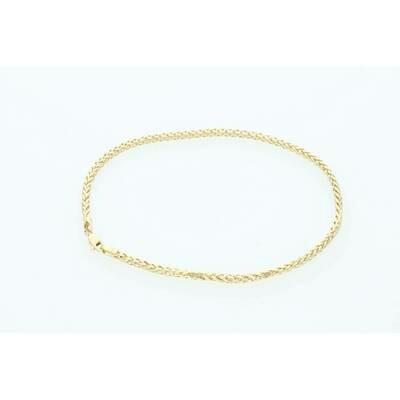 14 Karat Gold Palmer Anklet Bracelet 2.5mm x 10