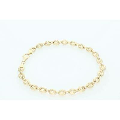 10 Karat Gold Puff Mariner Nugget Bracelet 7mm x 10