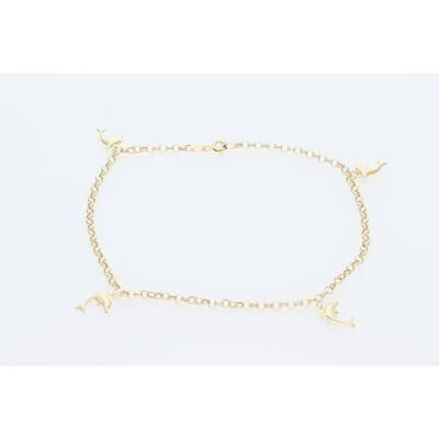 14 Karat Gold Anklet Bracelet With Dolphin 2.9mm 10
