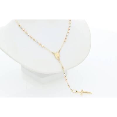 14 Karat Gold Two Tone Rosary 2.4mm 19