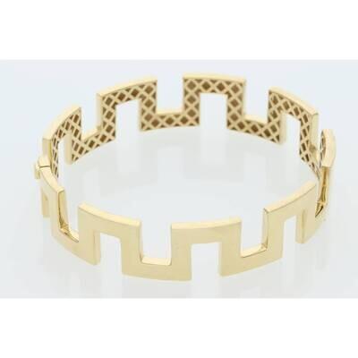14 Karat Gold Maze Bangle 13.5mm 7.5