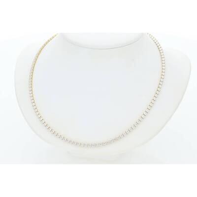 14 Karat Gold Cz Fancy Tennis Necklaces 2mm 20