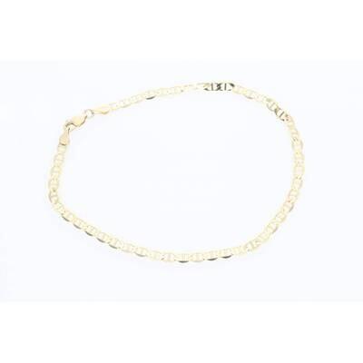 14 Karat Solid Mariner Anklet Bracelet 4mm 10