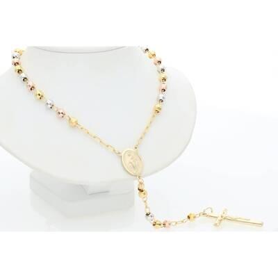 10 Karat Gold Three Tone Rosary 4.7mm 26