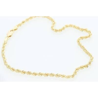 10 Karat Gold Solid Rope Anklet Bracelet 2.7mm 10