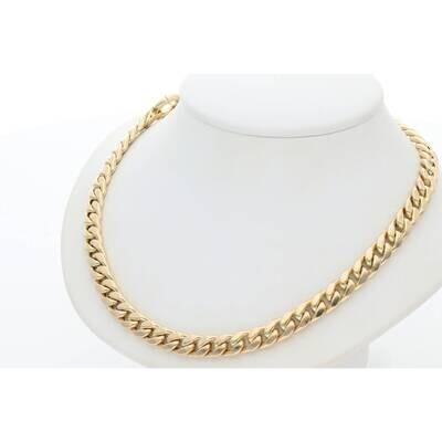 14 Karat Gold Plain Cuban Link Necklaces 6.2mm 17