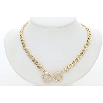 14 Karat Gold Cz Infinity Cuban Link Necklace 5.3mm 17