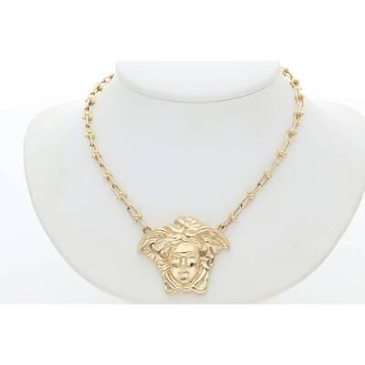 14 Karat Gold Medusa Clip Necklace 3mm 17