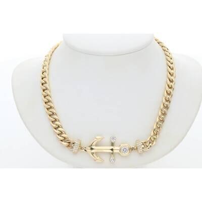 14 Karat Gold Cz Anchor Cuban Link Necklaces 6.3mm 17