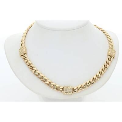 14 Karat Gold Cz Square Maze Miami Cuban Link Necklace 6.2mm 17