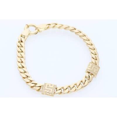 14 Karat Gold & Cz Square Maze Miami CubanLink Necklace 6.2mm 7