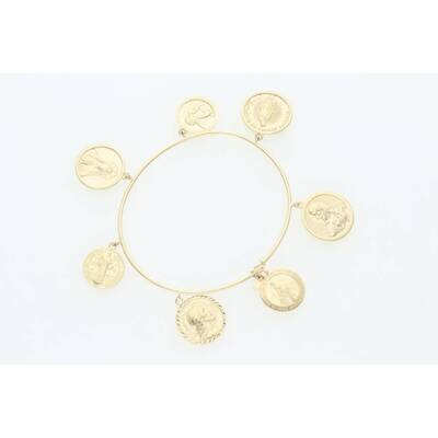 10 Karat Gold Religious Bangle With Charm 1.2mm 7.5
