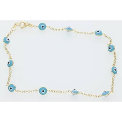 14 Karat Gold Blue Eye Anklet Bracelet 5.6mm 10