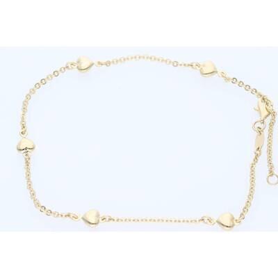 14 Karat Gold Heart & Moon Rolo Anklets Bracelet 0.7mm 10