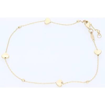 14 Karat Gold Rolo Heart Anklet Bracelet 1.2mm 9.5