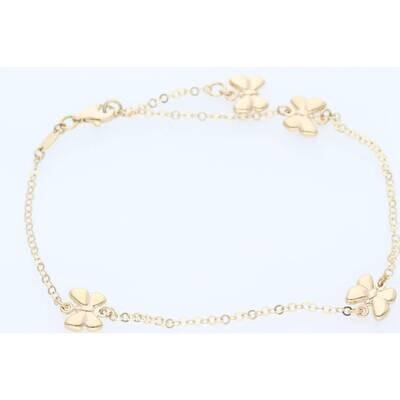 14 Karat Gold Rolo FAncy Butterfly Anklets Bracelet 1.8mm 10