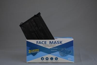Disposable Black Face Mask 3ply