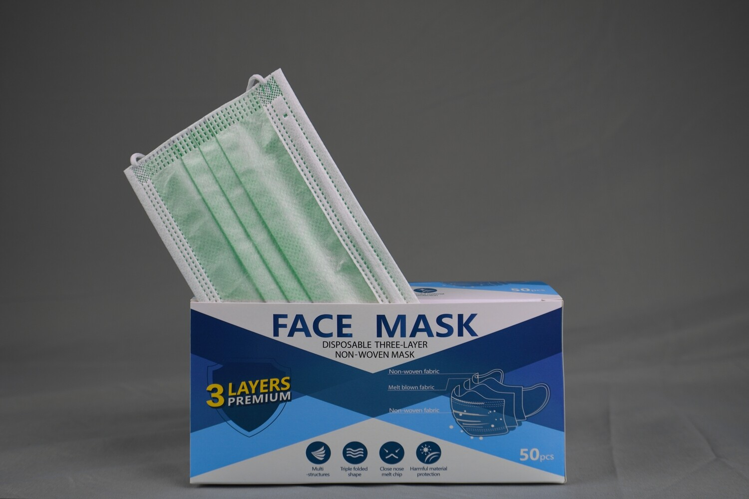Disposable Green Face Mask 3ply