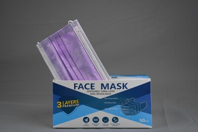 Disposable Purple Face Mask 3ply