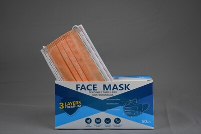 Disposable Orange Face Mask 3ply