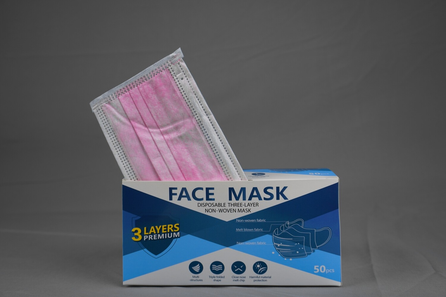 Disposable Pink Face Mask 3ply