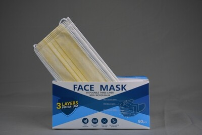Disposable Yellow Face Mask 3ply