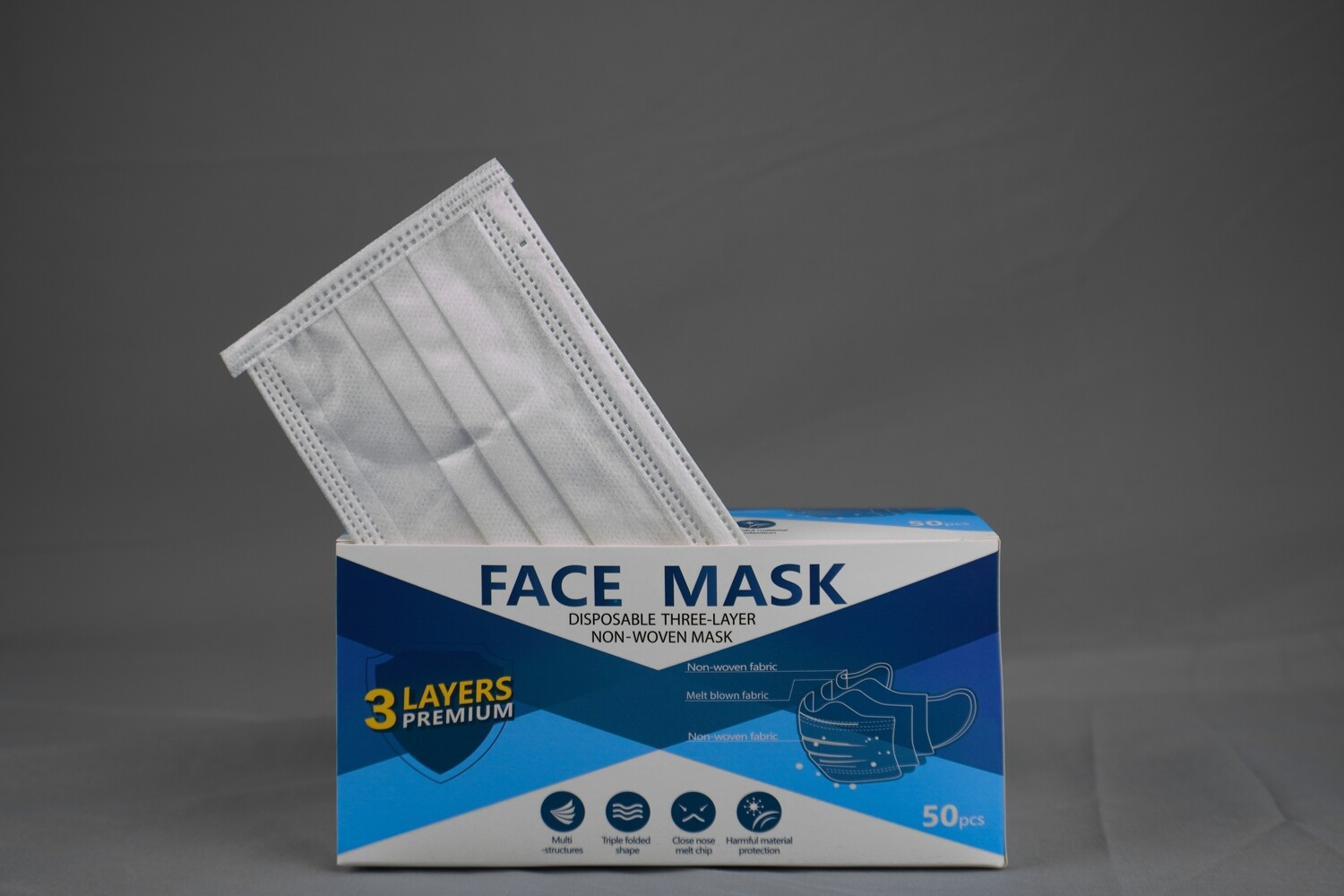 Disposable White Face Mask 3ply