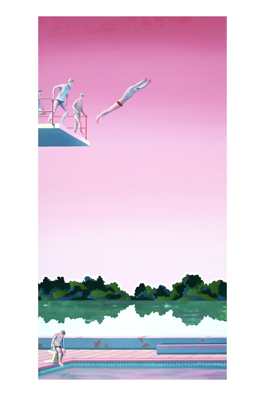 Fête à la piscine 2, 40x60 cm, édition limitée signée main