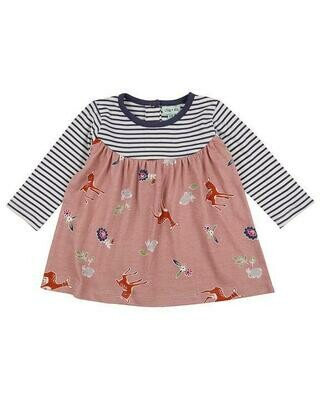 Fabric Mix Dress- Deer/Stripe