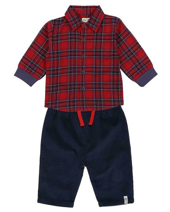 Check Shirt/Cord Trouser Set