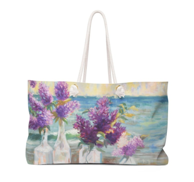 Weekender Bag with Lilacs By The Sea