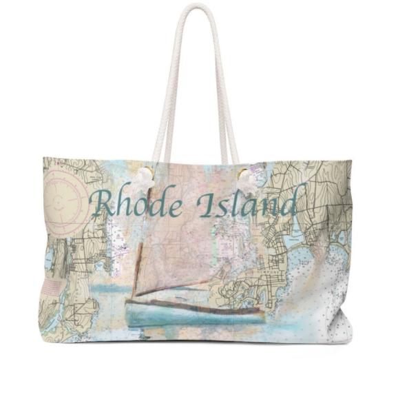 Weekender Bag with RI Sailboat and Chart