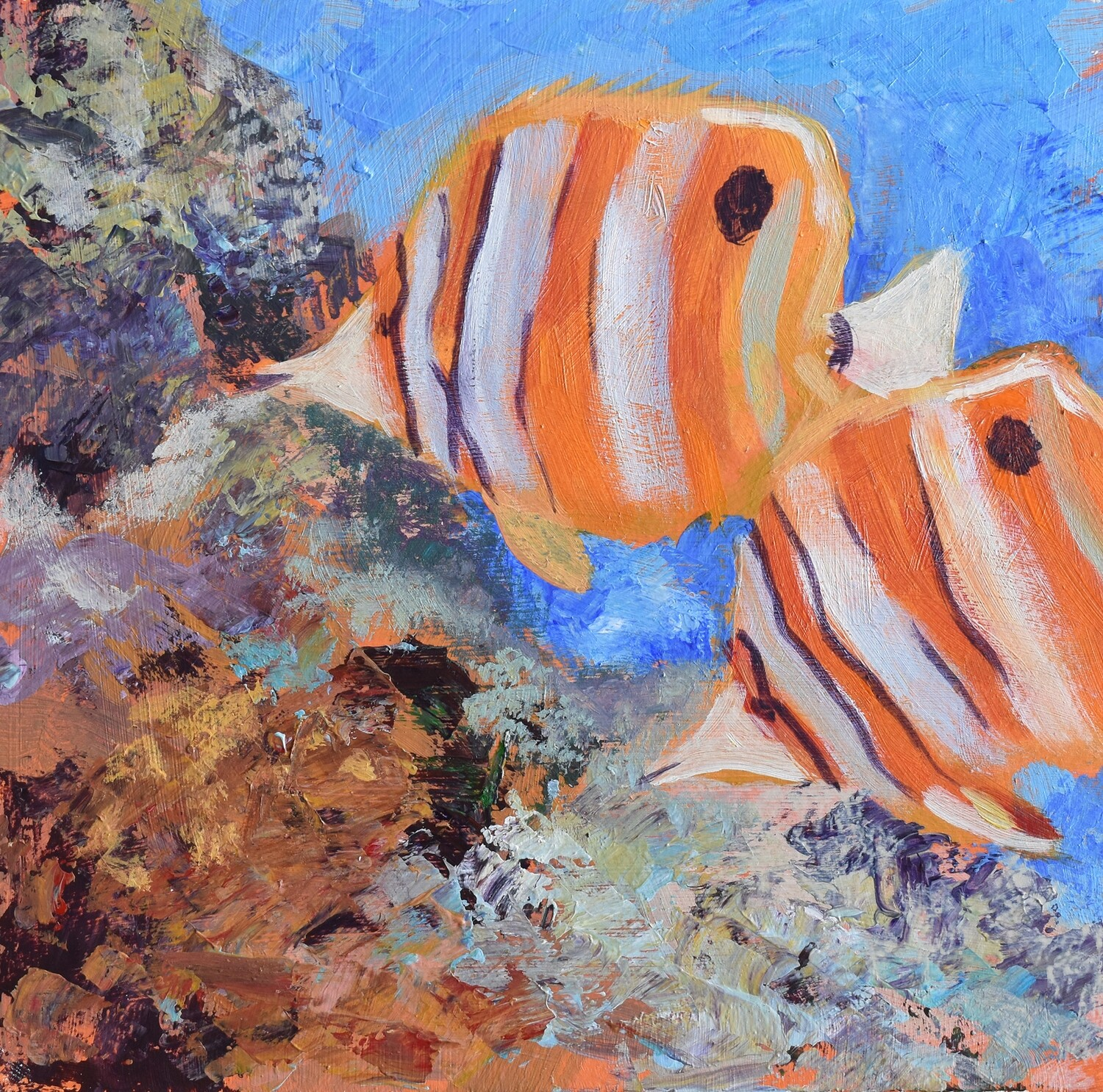 Julie Brayton Fine Art Abstract Tropical Fish Acrylic Painting