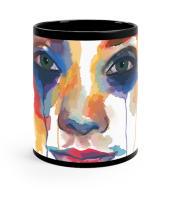 Multicolored Face on a Black Mug
