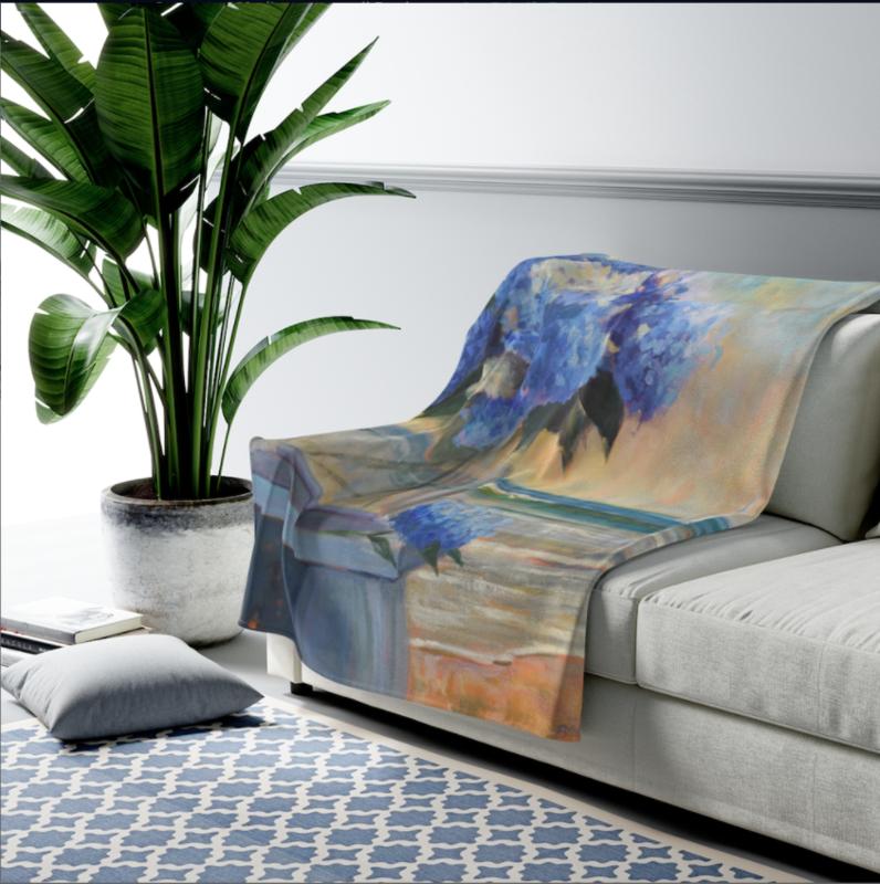 Hydrangeas By The Sea Velveteen Plush Blanket