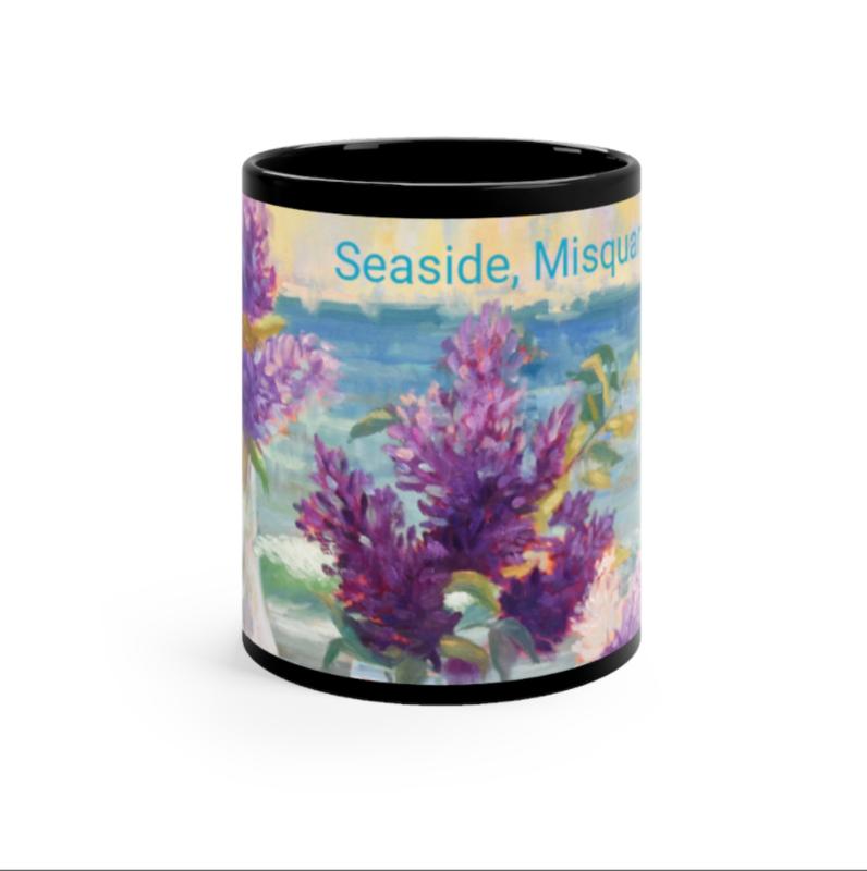 Seaside Misquamicut Purple Lilacs  Black mug 11oz
