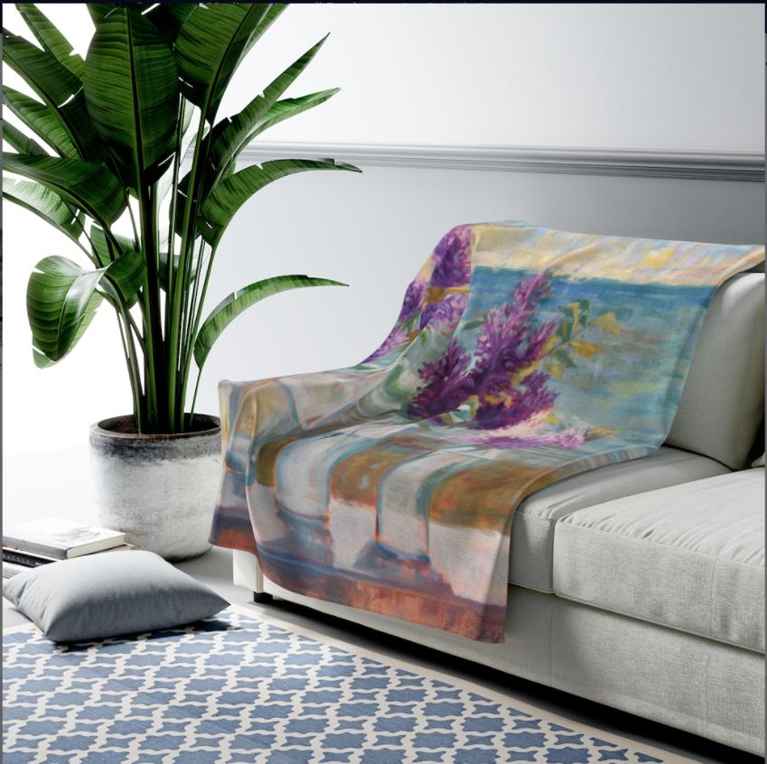 Lilacs By the Sea Velveteen Plush Blanket