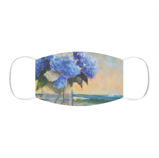 Hydrangeas by the Sea Snug-Fit Polyester Face Mask